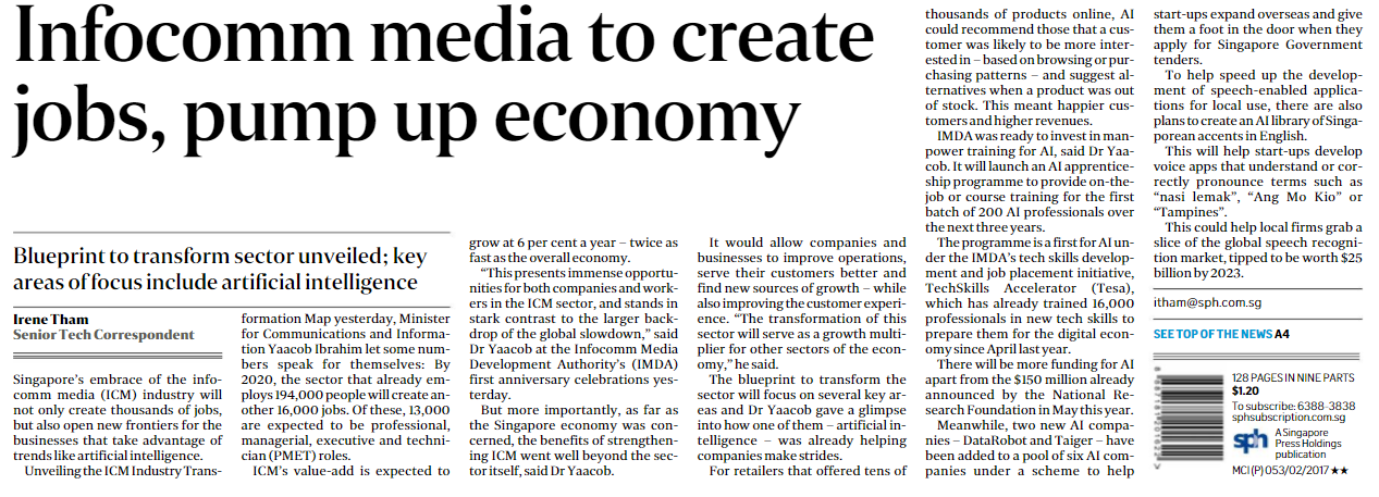 Infocomm media to create jobs; pump up economy